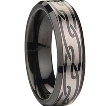 (Wholesale)Black Tungsten Carbide Celtic Ring - TG674