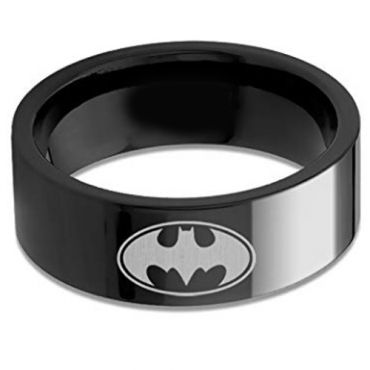 (Wholesale)Black Tungsten Carbide Batman Ring - TG676
