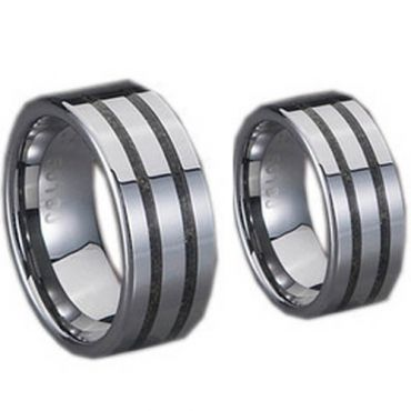 (Wholesale)Tungsten Carbide Ring With Carbon Fiber - TG706