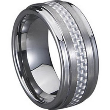 (Wholesale)Tungsten Carbide Ring With Carbon Fiber-TG714
