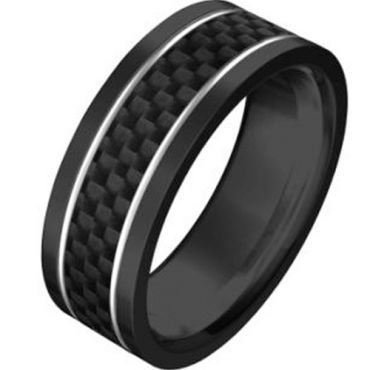 (Wholesale)Black Tungsten Carbide Carbon Fiber Ring-TG765