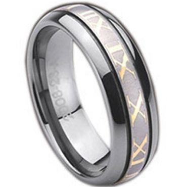 (Wholesale)Tungsten Carbide Ring With Roman Numerals-TG773