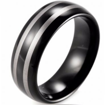 (Wholesale)Black Tungsten Double Lines Ring-TG774BB
