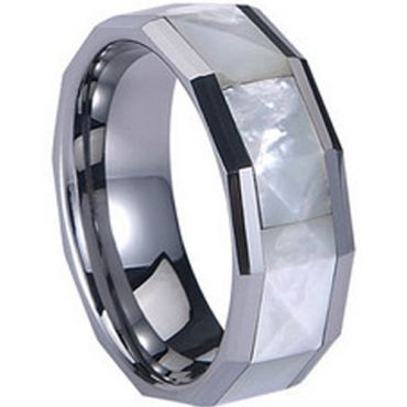 (Wholesale)Tungsten Carbide Abalone Shell Ring - TG813