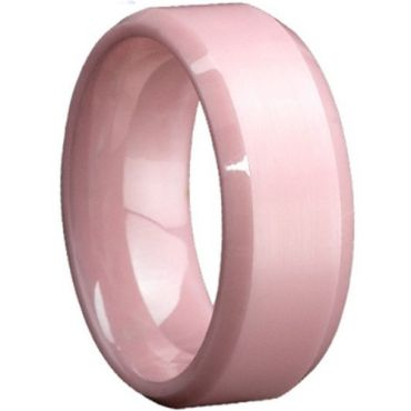 (Wholesale)Pink Ceramic Beveled Edges Ring - TG815
