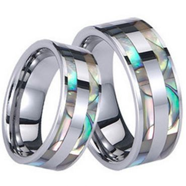 (Wholesale)Tungsten Carbide Abalone Shell Ring - TG845