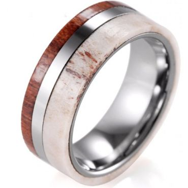 (Wholesale)Tungsten Carbide Deer Antler And Wood Ring - 847