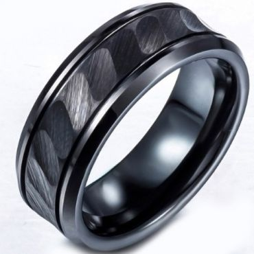 (Wholesale)Black Tungsten Carbide Ring - TG848
