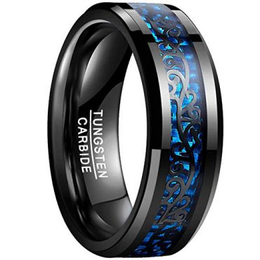 (Wholesale)Tungsten Carbide Ring With Carbon Fiber - TG878