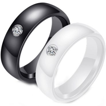 (Wholesale)Black/White Ceramic Ring With Cubic Zirconia - TG883