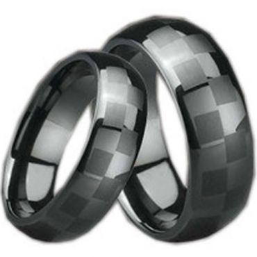 (Wholesale)Black Ceramic Checkered Flag Dome Ring - TG995