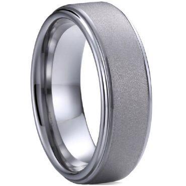 (Wholesale)Tungsten Carbide Sandblasted Ring - TG4509A
