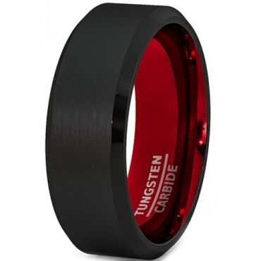 (Wholesale)Tungsten Carbide Aluminum Black Red Ring - TG2547A