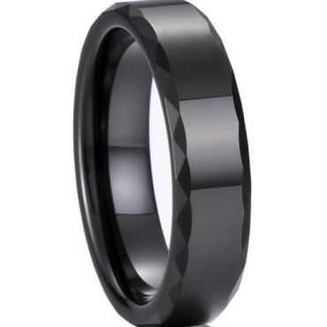 (Wholesale)Black Tungsten Carbide Faceted Ring - TG891